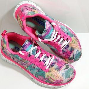 Skechers Pink Shoes Sneakers Girls Memory Foam 6.5